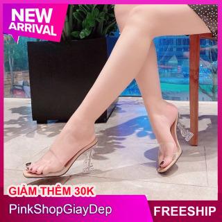 (Miễn ship) Giày nữ, dép cao gót PinkShopGiayDep 9 phân đế chữ Y gót trong siêu xinh - GYT thumbnail