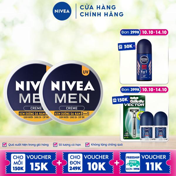Bộ đôi Kem Dưỡng Da Nam NIVEA MEN Creme 3in1 Giúp Giảm Nhờn, Sáng Da, Cấp Ẩm (30G) - 83923