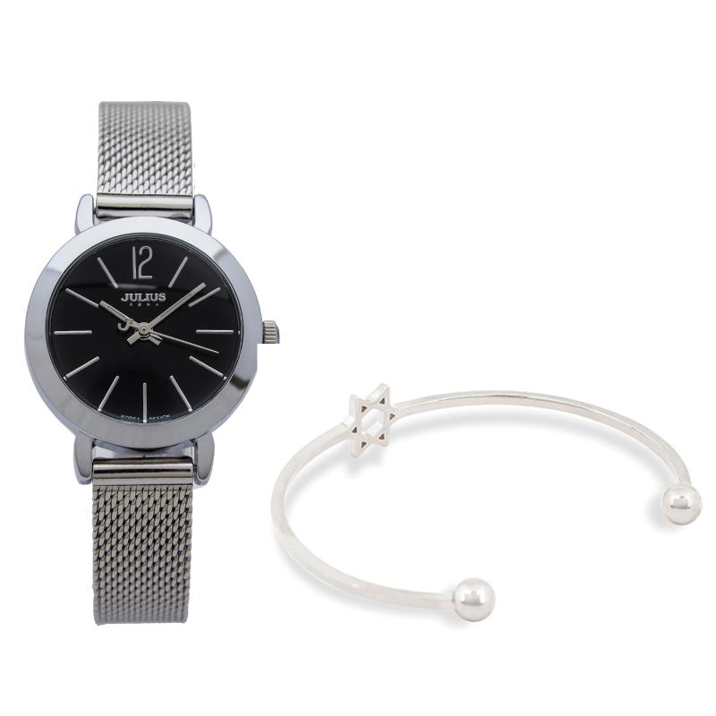 Combo đồng hồ Julius Hàn Quốc JA-732 dây thép và lắc tay thời trang