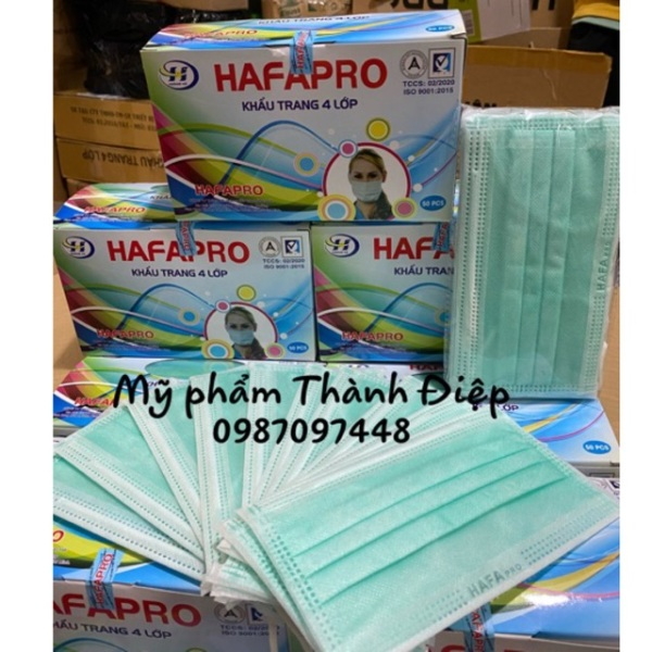 Khẩu trang y tế 4 lớp HAFAPRO. Xanh ngọc dễ thương ( 1 hộp 50 cai )