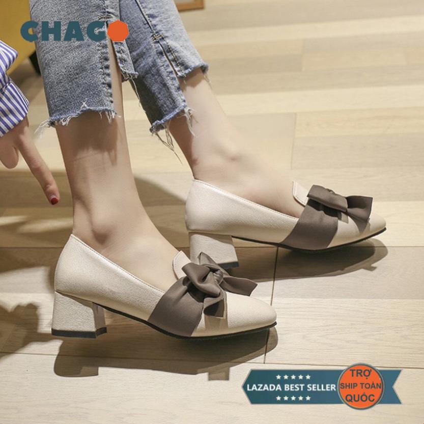 Giày nữ CHAGO, giày cao gót nữ đế vuông đơn giản mà đẹp, giày nữ Phong Cách Hàn Quốc - GCG108-LDV02 giá rẻ
