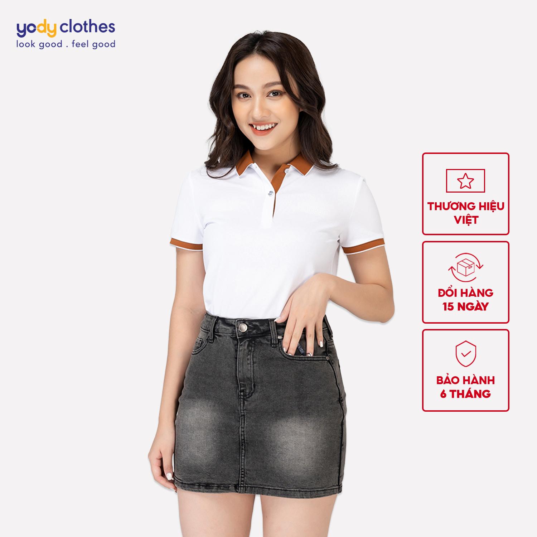 Áo phông polo nữ cafe phối nẹp YODY, áo thun có cổ chất liệu cafe tự nhiên, chống tia UV, thoáng mát dễ phối đồ APN3700