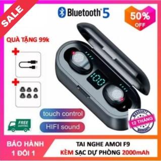Tai Nghe Bluetooth Không Dây AMOI F9 Phiên Bản Quốc Tế Kiêm Pin Sạc Dự Phòng Điện Thoại 2000 mAh - Tai Nghe Bluetooth Mini - Tai Nghe Bluetooth Không Dây Hay Hơn i7s, i9s, i11, i12 thumbnail