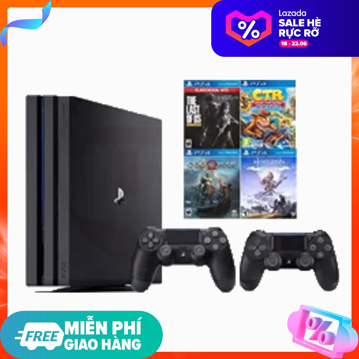 PS4 Pro 7218B 1TB Sony [Bảo Hành 2 Năm] + 2 Tay Cầm + Combo 4 Games - Hàng Phân Phối Chính Thức [DUY NHẤT 3 NGÀY] Đang Có Giảm Giá