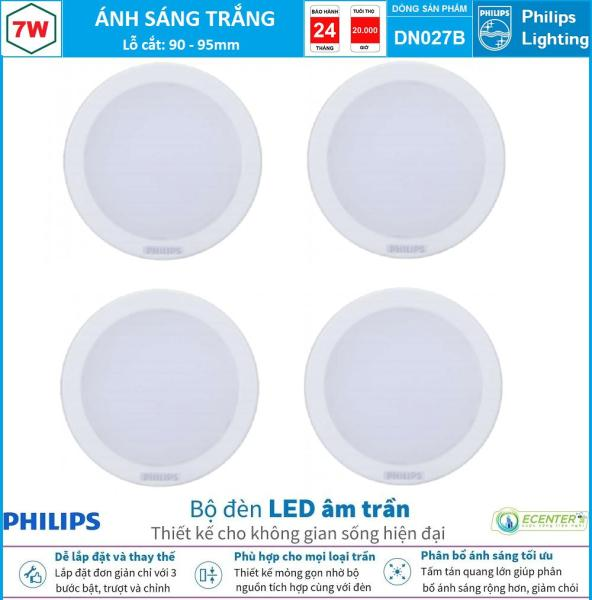 ( Bộ 4 ) Đèn Led Âm trần 7W Philips Downlight DN027B LED6 D90 ( Ánh Sáng Trắng & Trung Tính & Vàng )