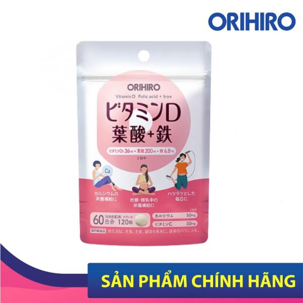 Viên Uống Bổ Sung Vitamin D, Axit Folic, Sắt Orihiro 120 Viên Hạn Sử Dụng Tháng 02/2022