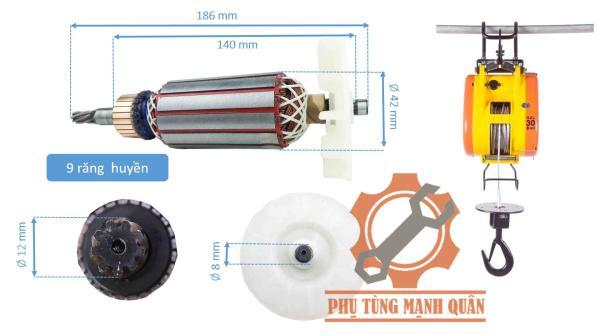 Rotor máy tời than 9 răng tặng kèm đôi than cao cấp