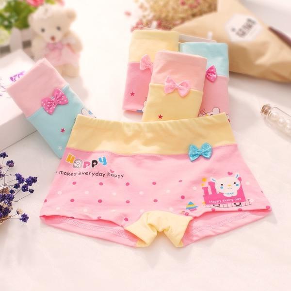 Giá bán (QC1) Combo 5 chiếc quần lót bé gái đủ size-họa tiết gấu đính nơ