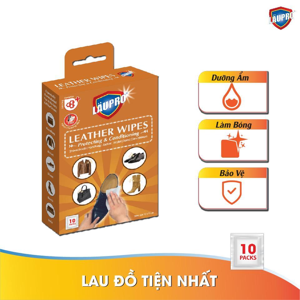 Khăn ướt Läupro – Leather – Hộp 10 Gói Tiện Lợi (laupro) By Entaid International Ltd..