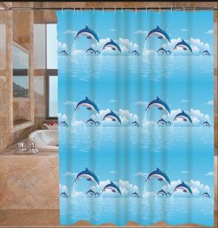 Rèm phòng tắm 1.8m có kèm móc chấm CÁ HEO thumbnail