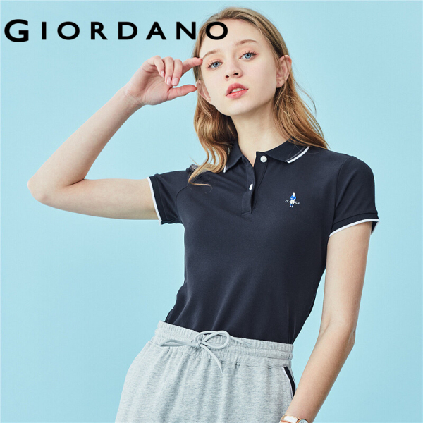Giordano Women Polo Shirts Lycra Embroidery Polo Shirts Contrast Color Collar Simple Quality Tops Free Shipping 05319260