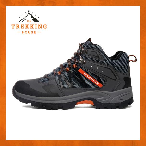 Giày leo núi trekking nam nữ chống thấm Warrior Xám - Cam, giày phượt oudoor dã ngoại giá rẻ