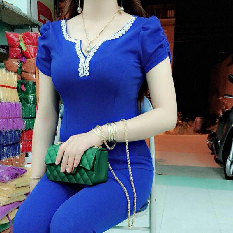 Đồ bộ mặc nhà Cát hàn phối ren cổ PV5101C Nhật Bản