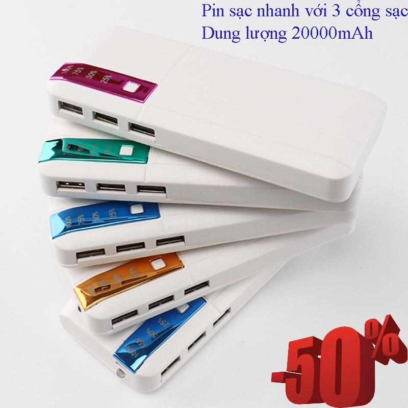Sạc Dự Phòng Xiaomi 20000mah,Pin & Bộ Sạc Dự Phòng Tốt,Cuc Sat Du Phong.Sạc Dự Phòng Battery Pack với 3 cổng sạc Cung Cấp Pin Cho Mọi Loại Smartphone Với 20000Mah Cực Khủng.(SALE-50%)