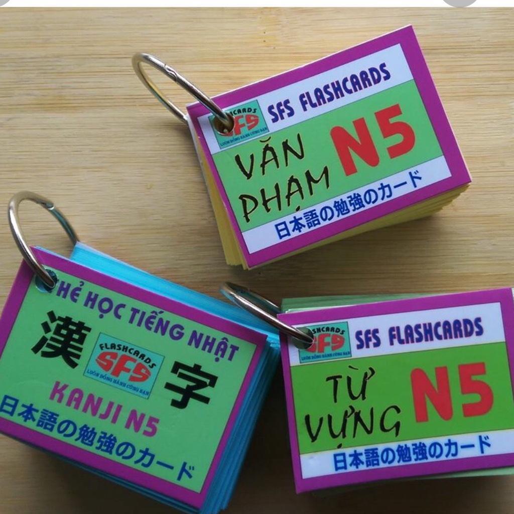Offer tại Lazada cho Thẻ Học Tiếng Nhật N5 Trọn Bộ -3 Xấp ( Kanji, Từ Vựng , Ngữ Pháp)