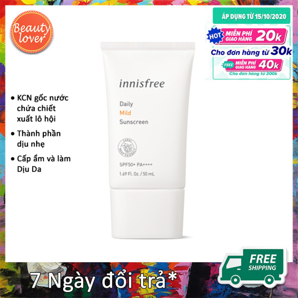 Kem Chống Nắng Innisfree Daily Mild Sunscreen SPF50+ PA++++ 50ml – Beauty Lover Kết Hợp Chức Năng Dưỡng Ẩm Hiệu Quả Hơn Xịt Chống Nắng