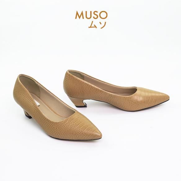 Giày Búp Bê Cao Gót 3cm MUSO Mũi Nhọn Da Vân Rắn Hàng Xuất Nhật- Giày búp bê- Giày cao gót - Giày cao gót nữ 3 phân - Giày cao gót nữ 3p -Giày cao gót nữ Hot 2020- Chất liệu mềm, đẹp, ôm chân - Hàng chuẩn xuất Nhật giá rẻ