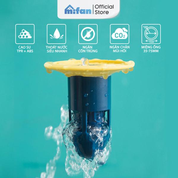 Bảng giá Bộ Nắp Ga Thoát Sàn Ngăn Mùi Hôi Cống Cao Cấp MIFAN Model 2021 - Phễu thoát sàn chống hôi, Chặn côn trùng lỗ thoát nước - Mẫu Mới 2021