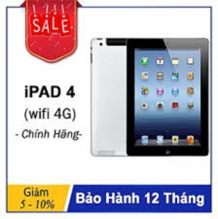 Máy Tính Bảng IPAD 4 32G bản Quốc Tế - màn hình 9.7inch - ZOOM HỌC ONLINE ,YOUTOBE, TIKTOK XEM PHIM , GAME ONLINE GIẢI TRÍ RAM 1G, Chip Apple A6X, 1.4 GHz, IOS 10 thumbnail