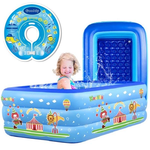 Mua bể bơi cho bé, Hồ bơi 2m1, Bể bơi bơm hơi cỡ lớn tặng kèm bơm - Thành cao chất liệu nhựa dày dặn đàn hồi tốt , Thiết kế 3 tầng chịu lực tốt , Dễ dàng gấp gọn khi không sử dụng.