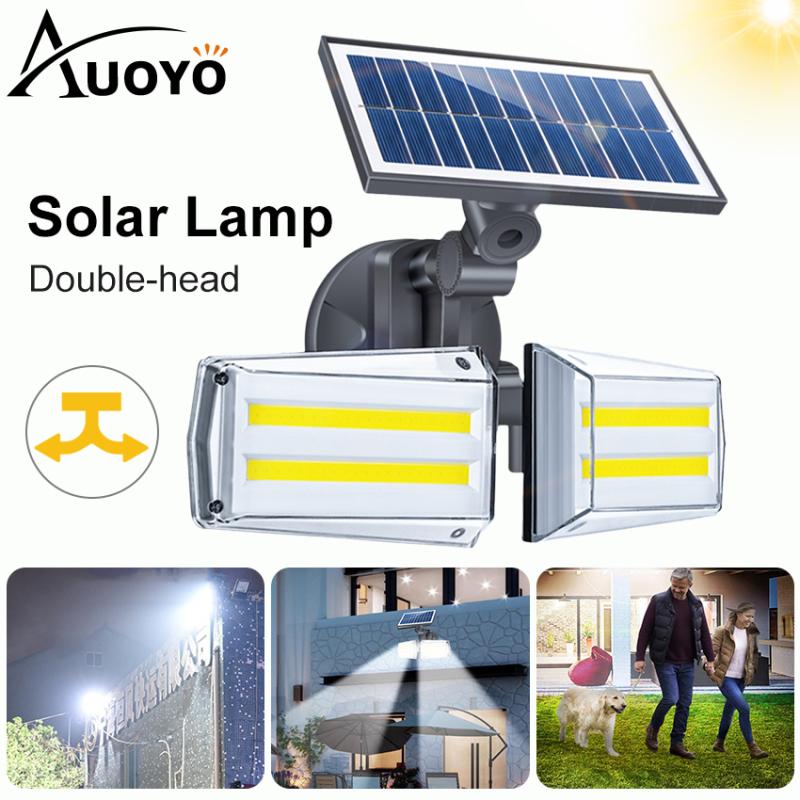 Auoyo Solar Lights 80COB Outdoor Lighting Dual Head Spotlights Adjustable Motion Sensor Solar Security Lights IP65 Waterproof Wall Light for Outdoor Garden Driveway