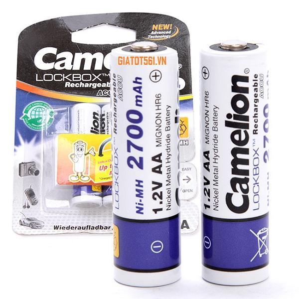 Giá Vỉ 2 Pin Sạc Camelion 2700 mAh 1.2V AA cho máy ảnh, thiết bị điện tử (Trắng) BT85
