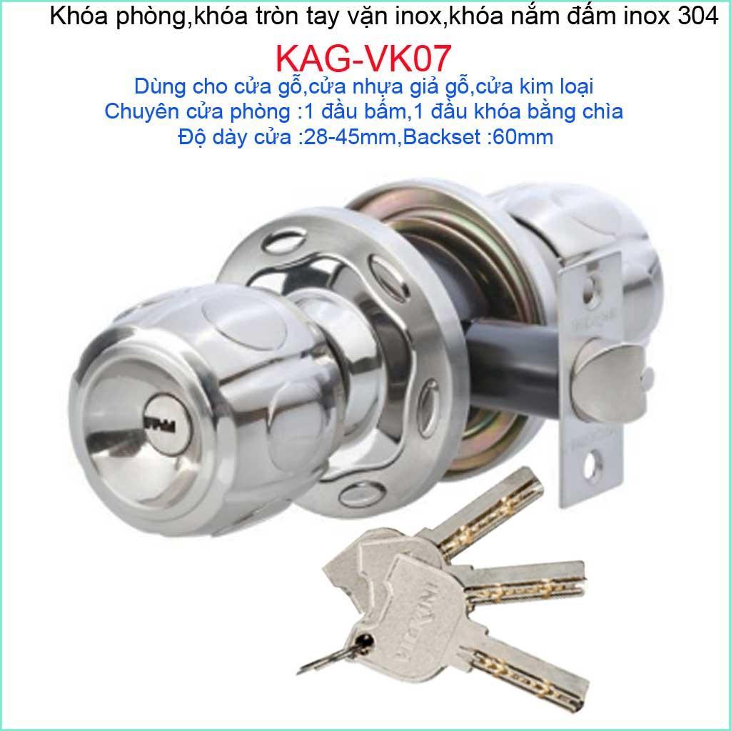 Khóa cửa phòng, khóa tay nắm tròn, khóa phòng ngủ Vickini KAG-VK07