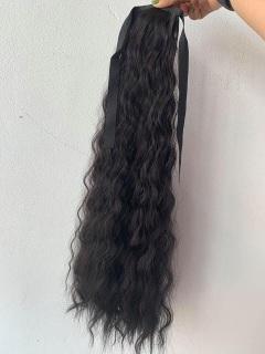 Tóc Giả Buộc Dây Cột Đuôi Xoăn Xù dài 60cm , Tóc Gỉa Cá Tính , Trẻ Trung Chọn Màu ( Nâu Và thumbnail