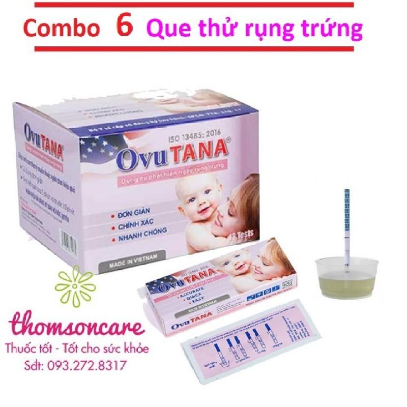 Combo 6 que thử rụng trứng Ovutana - Chính xác - Giao hàng kín đáo che tên, dụng cụ giúp phát hiện sự gia tăng hormone lutein hóa (LH) trong nước tiểu ngay trước khi rụng trứng