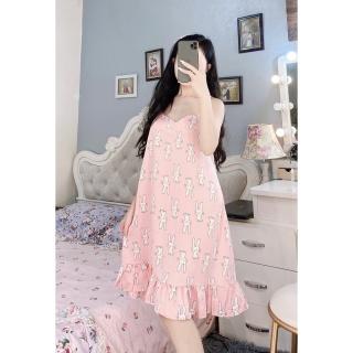 [ Babi mama ] Đầm Ngủ Nữ Váy Mặc Nhà 2 Dây Lụa Satin Cao Cấp Freesize 58kg - BV01 thumbnail