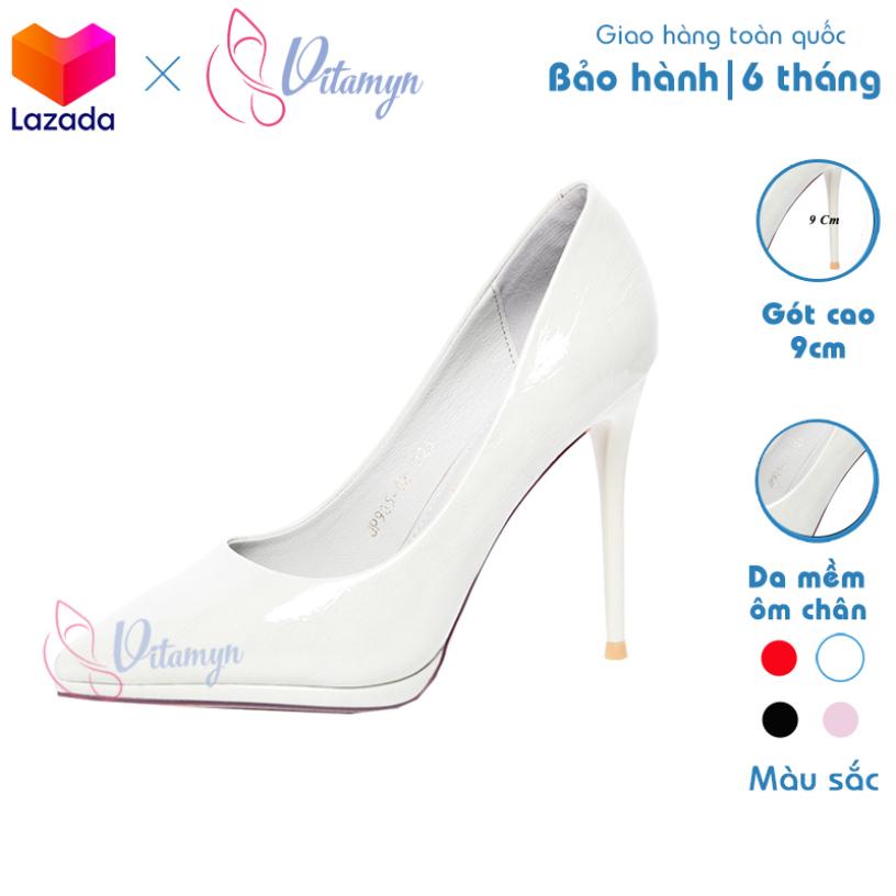 Giày cao gót nữ trơn mũi nhọn chất liệu da Simili chống thấm, đế đặc, gót nhọn cao 9cm, thiết kế thời trang giá rẻ