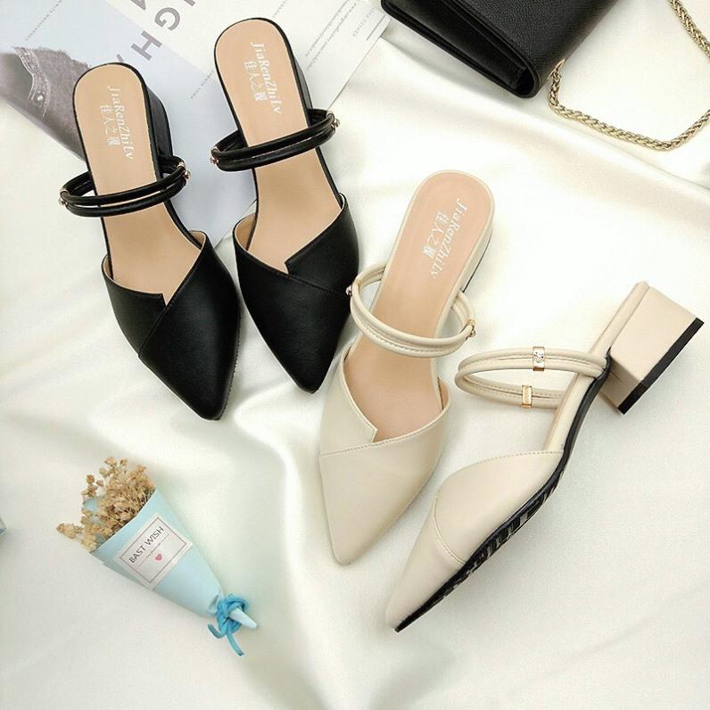 giày sandal nữ cao gót đế 3cm mũi nhọn đi được 3 kiểu cực xinh giá rẻ