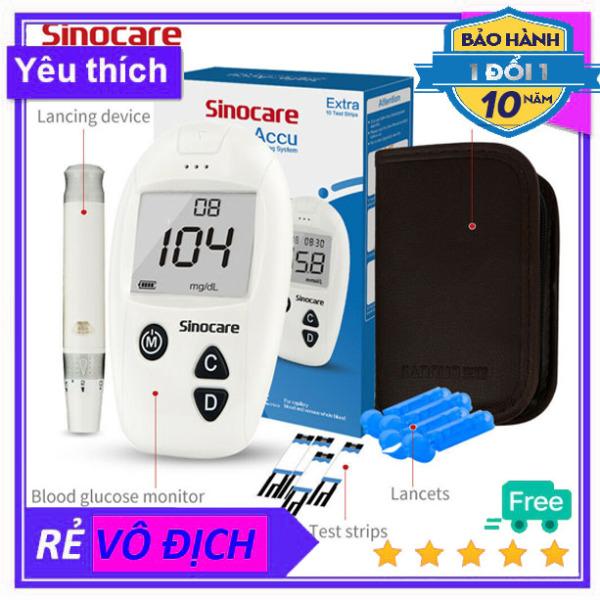Máy đo đường huyết thử bệnh tiểu đường đo chỉ số đường huyết thấp cao Safe Accu Sinocare Đức(Tặng kèm 10 que thử và 10 kim)