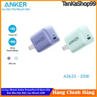 Củ Sạc Nhanh Anker 20W A2633 Bản Đặc Biệt Màu Tím Lavender - Xanh Green thumbnail