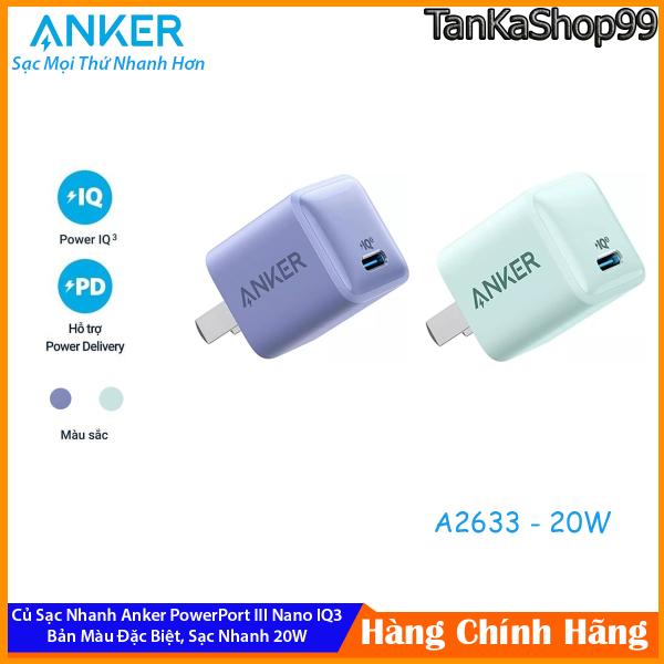 Củ Sạc Nhanh Anker 20W A2633 Bản Đặc Biệt Màu Tím Lavender - Xanh Green