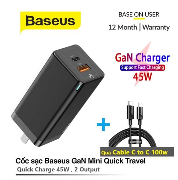 (Tặng kèm cáp 100W ) Bộ sạc Baseus Gan 45W Pd có sạc nhanh 4.0 3.0 Cổng USB GAN mini quick charger USB +C 45W US sạc nhanh cho máy tính xách tay và điện thoại Baseus Gan 45W  Baseus Gan 45W  Baseus Gan 45W  Baseus Gan 45W Baseus Gan 45W