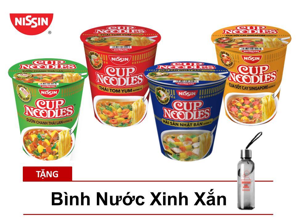 Thùng 12 Ly Mì Cup Noodles 4 Hương Vị Tặng Bình Nước Thủy Tinh Xinh Xắn Giá Cực Ngầu