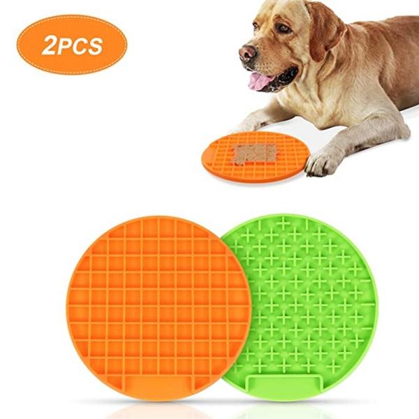 2 Sets of Pet Supplies Licking Food Mat Outdoor Pet Dinner Plate Slow Food Mat Slow Food Bowl Silicone Mat