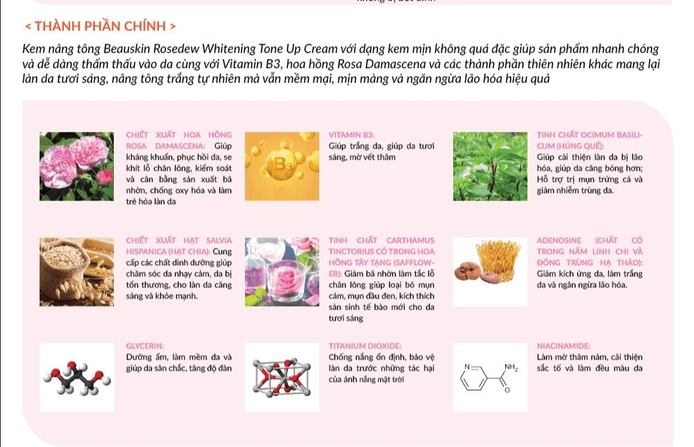 Kem nâng tông Beauskin Rosedew Whitening Tone Up Cream