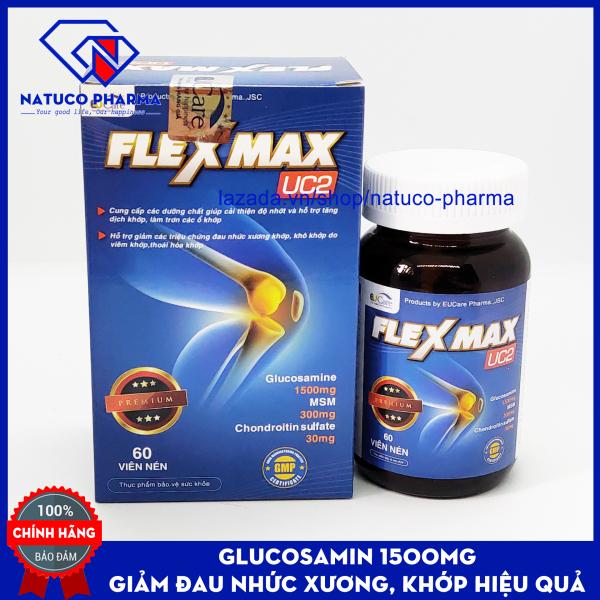 Viên uống Giảm đau khớp, viêm khớp - Glucosamin 1500mg FLEXMAX UC2 - Giảm thoái hóa cơ xương khớp, đau lưng, đau nhức khớp gối - Hộp 60 viên chuẩn GMP Bộ y tế