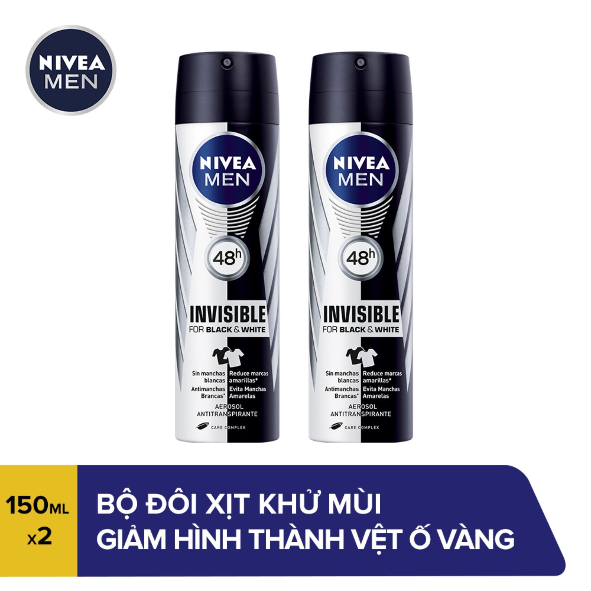 Bộ đôi Xịt Ngăn Mùi Giảm Hình Thành Vệt Ố Vàng Trên Quần Áo Dành Cho Nam Nivea Black & White 82241 (150ml x 2) cao cấp