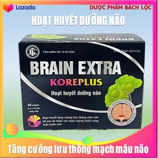 Hoạt Huyết Dưỡng Não Brain Extra Koreplus Dùng cho người bị thiểu năng tuần hoàn não, thiếu máu gây đau đầu, chóng mặt, rối loạn tiền đình, mất ngủ, suy giảm trí nhớ, căng thẳng thần kinh. thumbnail