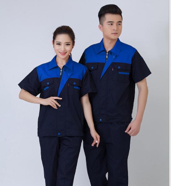 Quần áo đồng phục bảo hộ lao động nam nữ mùa hè SHUNI - 010B kaki loại dày khóa kéo than phối xanh dành cho công nhân, kỹ sư, xây dựng, làm việc