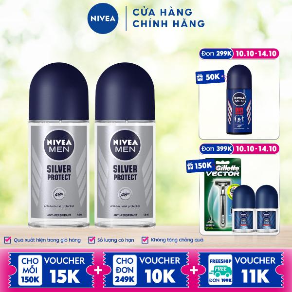 Bộ đôi Lăn Ngăn Mùi NIVEA MEN Silver Protect Phân Tử Bạc Giảm 99.9% Vi Khuẩn Gây Mùi (50ml) - 83778