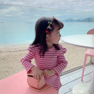 Đầm Nữ Dáng Suông Thường Ngày Gấu Leader, Áo Vest In Chữ Cho Bé Gái Mùa Xuân Hàn Quốc 2021 Trang Phục Kẻ Sọc Dài Tay Cho Trẻ Em