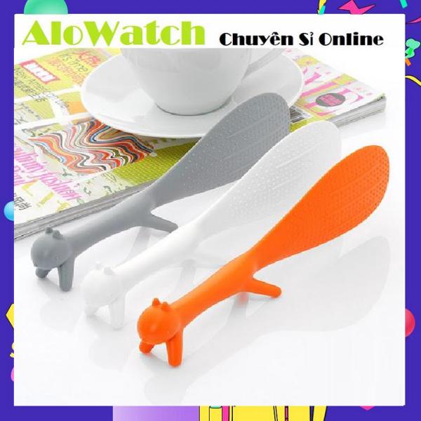AloWatch   Vá Múc Cơm Chống Dính Hình Con Sóc -  Muôi Xới Cơm - Muỗng Xúc Cơm Chống Dính