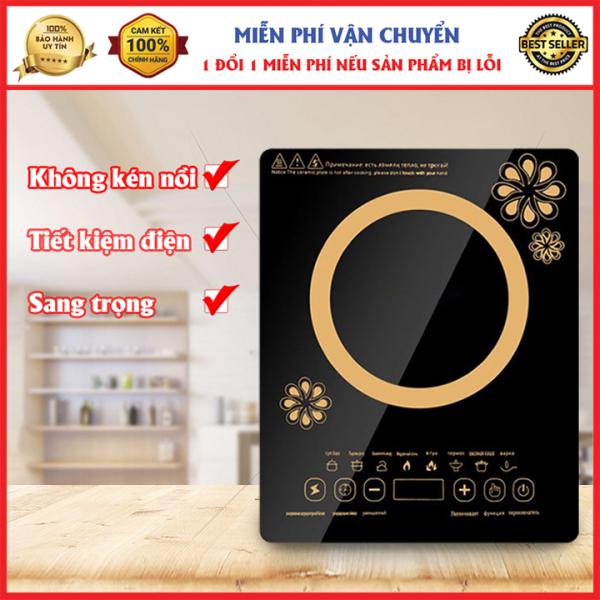 Bếp điện từ cảm ứng, bếp điện đơn POSKE 2100W nấu nhanh, có 8 chức năng nấu các món ăn khác nhau và bếp hồng ngoại cảm ứng Sunhouse, bảo hành 1 đôi 1