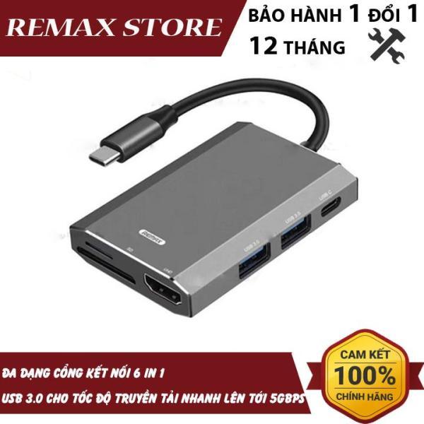 Bảng giá Hub chuyển đổi Remax RU-U30 6 in 1 cổng Type C ra USB 3.0 + HDMI + Đầu đọc thẻ nhớ Phong Vũ
