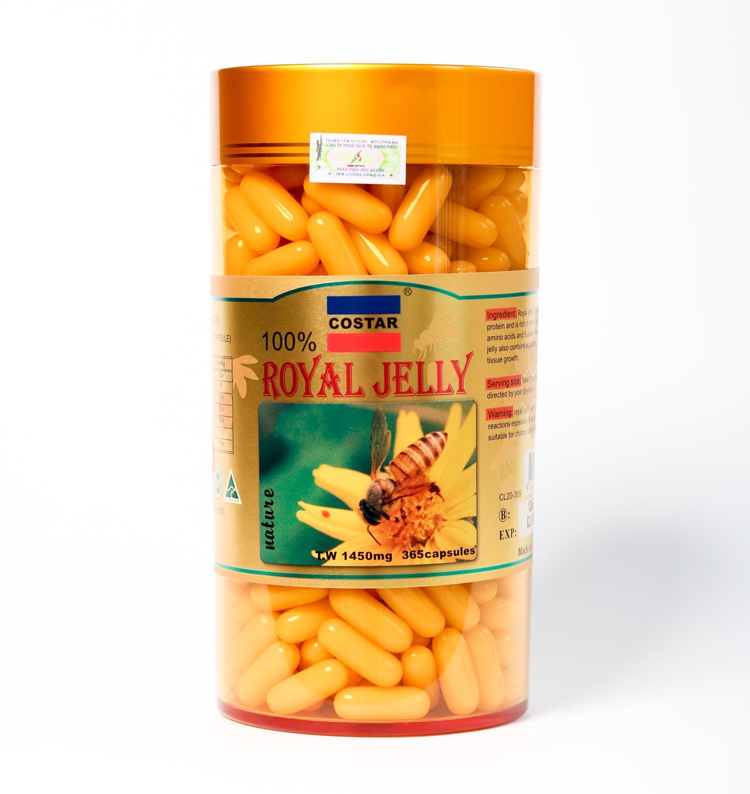 Sữa Ong Chúa Costar Royal Jelly Soft Gel Capsules 1450mg (365 Viên) Cùng Khuyến Mại Sốc