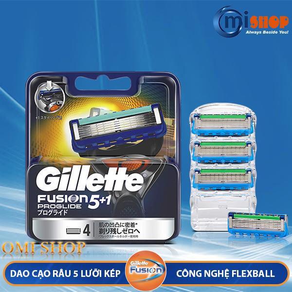 Hộp 4 lưỡi dao cạo râu Gillette Fusion 5+1 Proglide Nhật Bản